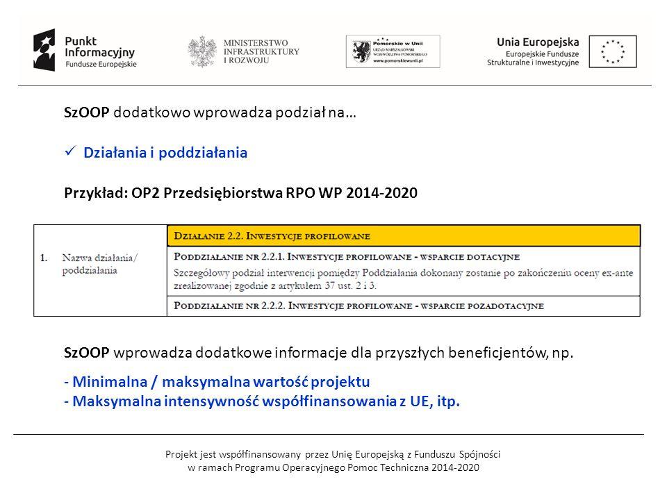 SzOOP dodatkowo wprowadza podział na… Działania i poddziałania Przykład: OP2 Przedsiębiorstwa RPO WP 2014-2020 SzOOP wprowadza dodatkowe informacje dla przyszłych beneficjentów, np.