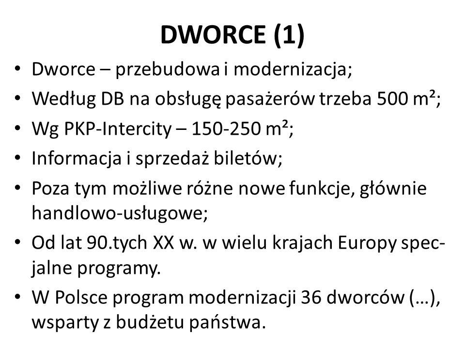 DWORCE (1) Dworce – przebudowa i modernizacja; Według DB na obsługę pasażerów trzeba 500 m²; Wg PKP-Intercity – 150-250 m²; Informacja i sprzedaż bile