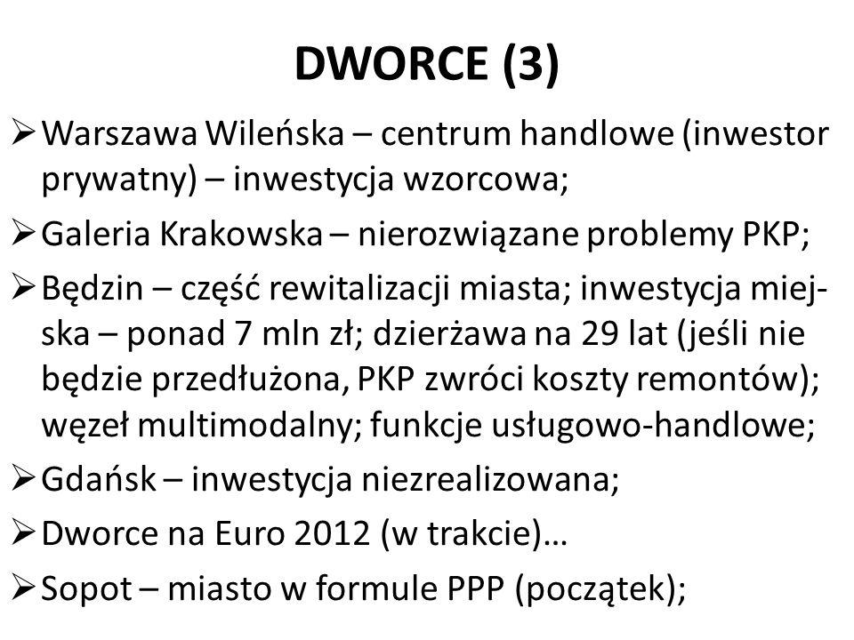 DWORCE (3)  Warszawa Wileńska – centrum handlowe (inwestor prywatny) – inwestycja wzorcowa;  Galeria Krakowska – nierozwiązane problemy PKP;  Będzi