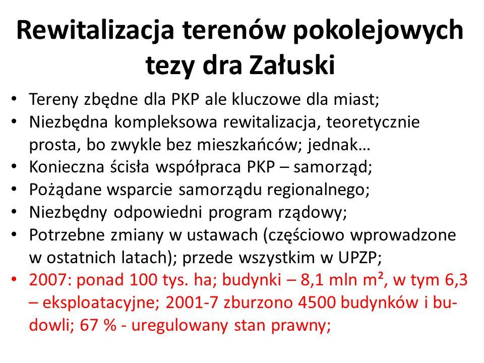 Rewitalizacja terenów pokolejowych tezy dra Załuski Tereny zbędne dla PKP ale kluczowe dla miast; Niezbędna kompleksowa rewitalizacja, teoretycznie pr