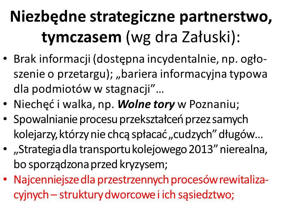 """Niezbędne strategiczne partnerstwo, tymczasem (wg dra Załuski): Brak informacji (dostępna incydentalnie, np. ogło- szenie o przetargu); """"bariera infor"""