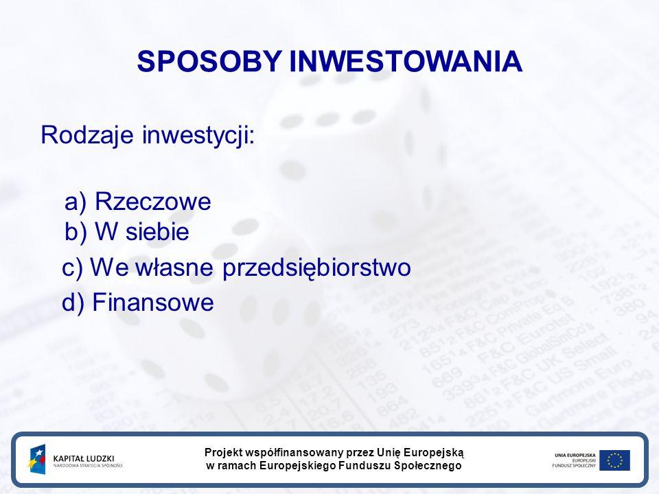 SPOSOBY INWESTOWANIA Rodzaje inwestycji: a) Rzeczowe b) W siebie c) We własne przedsiębiorstwo d) Finansowe Projekt współfinansowany przez Unię Europejską w ramach Europejskiego Funduszu Społecznego