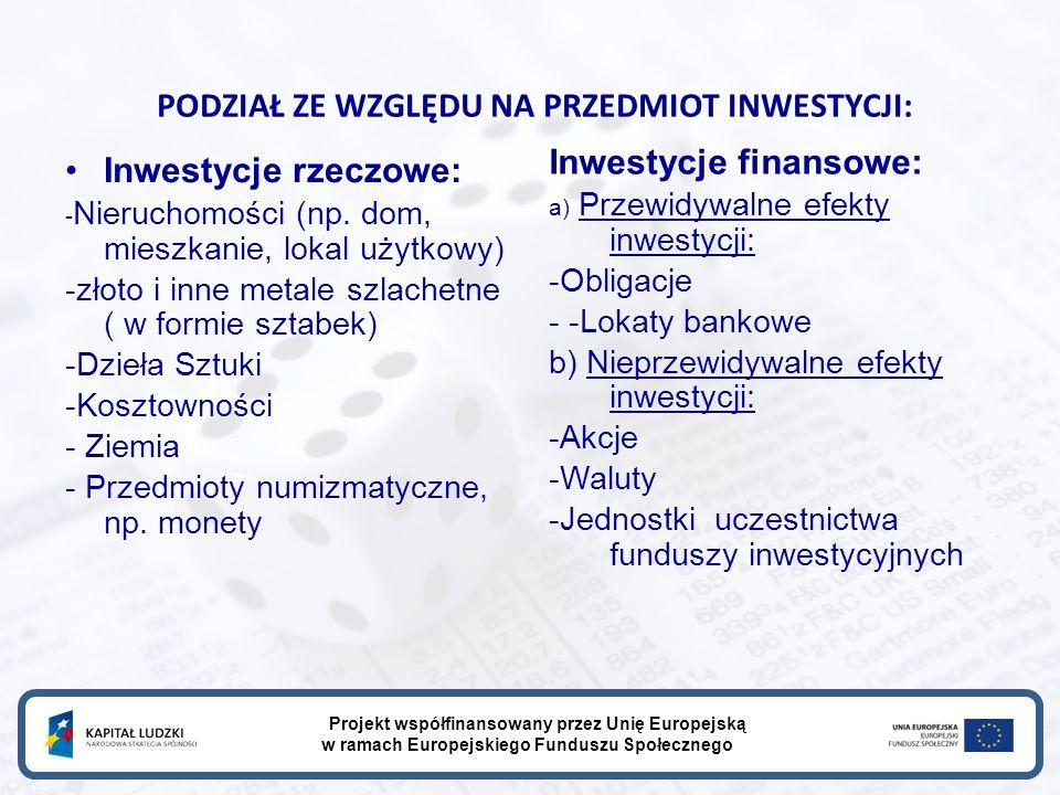PODZIAŁ ZE WZGLĘDU NA PODMIOT INWESTYCJI: - INWESTYCJE PRYWATNE, dokonywane przez podmioty prywatne, instytucje oraz inwestorów indywidualnych.