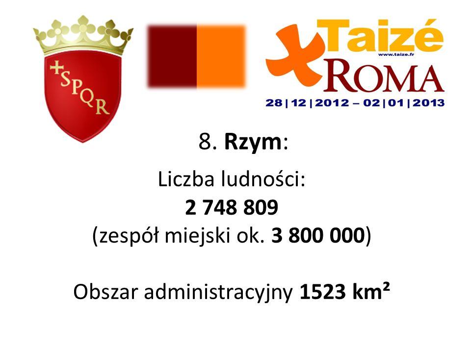 8. Rzym: Liczba ludności: 2 748 809 (zespół miejski ok. 3 800 000) Obszar administracyjny 1523 km²