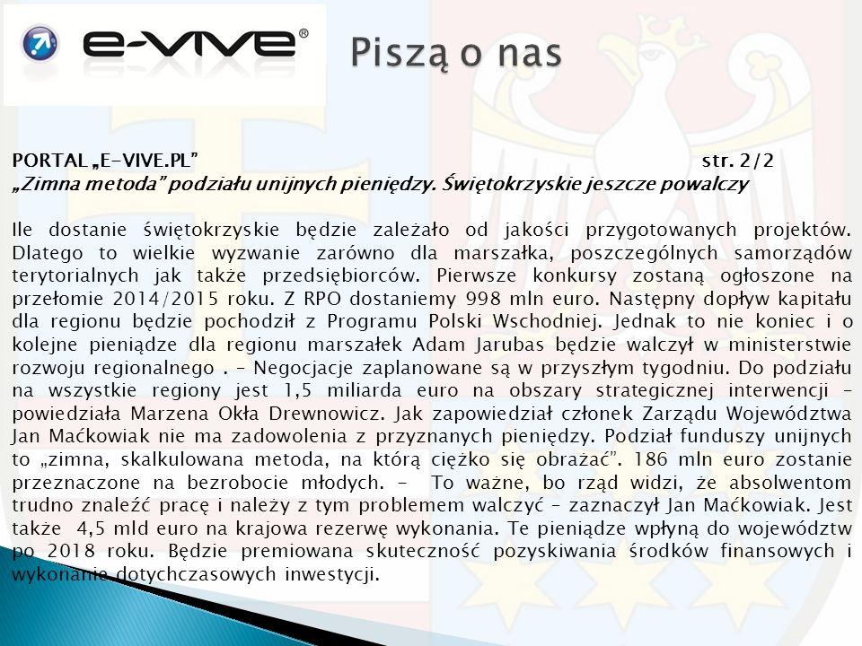 """PORTAL """"E-VIVE.PL str. 2/2 """"Zimna metoda podziału unijnych pieniędzy."""