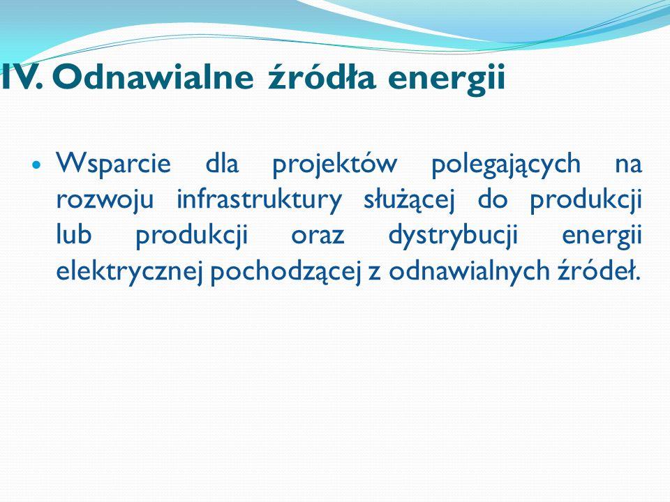 IV. Odnawialne źródła energii Wsparcie dla projektów polegających na rozwoju infrastruktury służącej do produkcji lub produkcji oraz dystrybucji energ