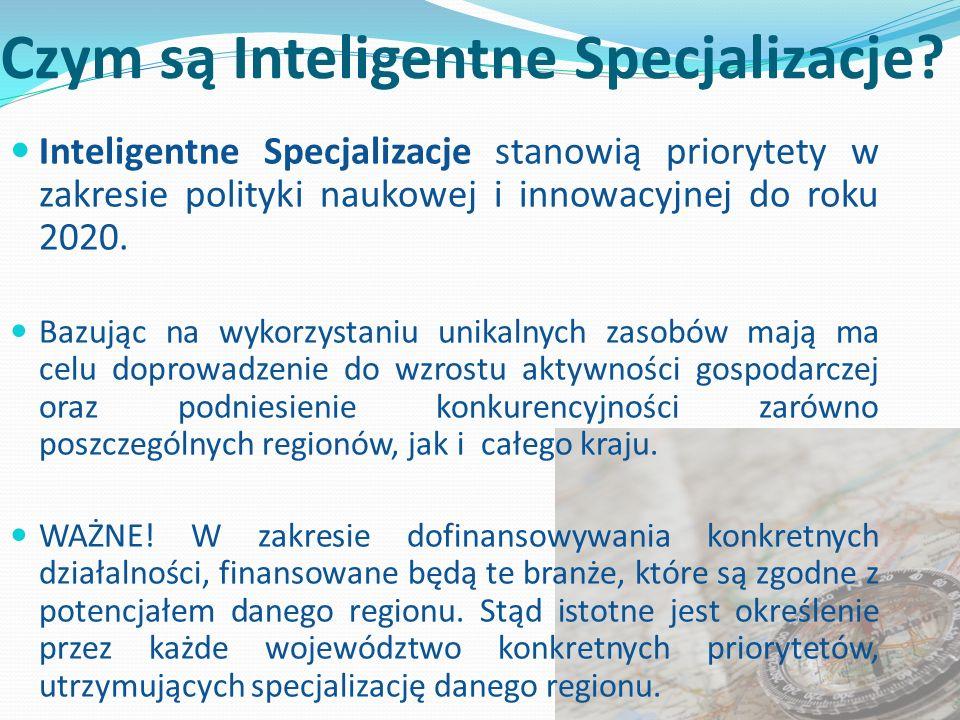 Czym są Inteligentne Specjalizacje? Inteligentne Specjalizacje stanowią priorytety w zakresie polityki naukowej i innowacyjnej do roku 2020. Bazując n