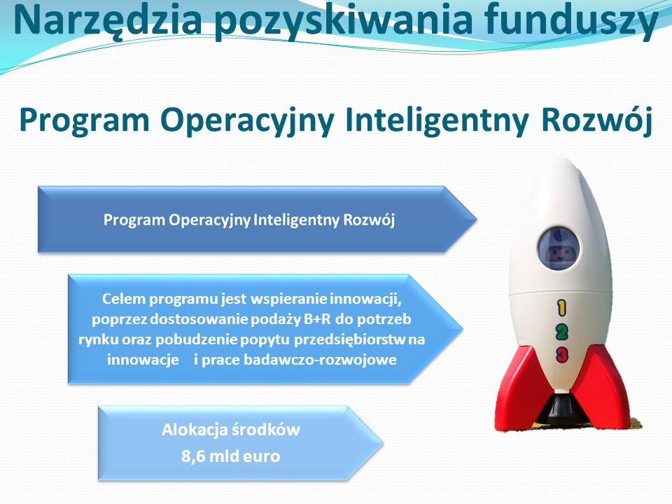 Narzędzia pozyskiwania funduszy Program Operacyjny Inteligentny Rozwój Celem programu jest wspieranie innowacji, poprzez dostosowanie podaży B+R do potrzeb rynku oraz pobudzenie popytu przedsiębiorstw na innowacje i prace badawczo-rozwojowe Alokacja środków 8,6 mld euro Alokacja środków 8,6 mld euro
