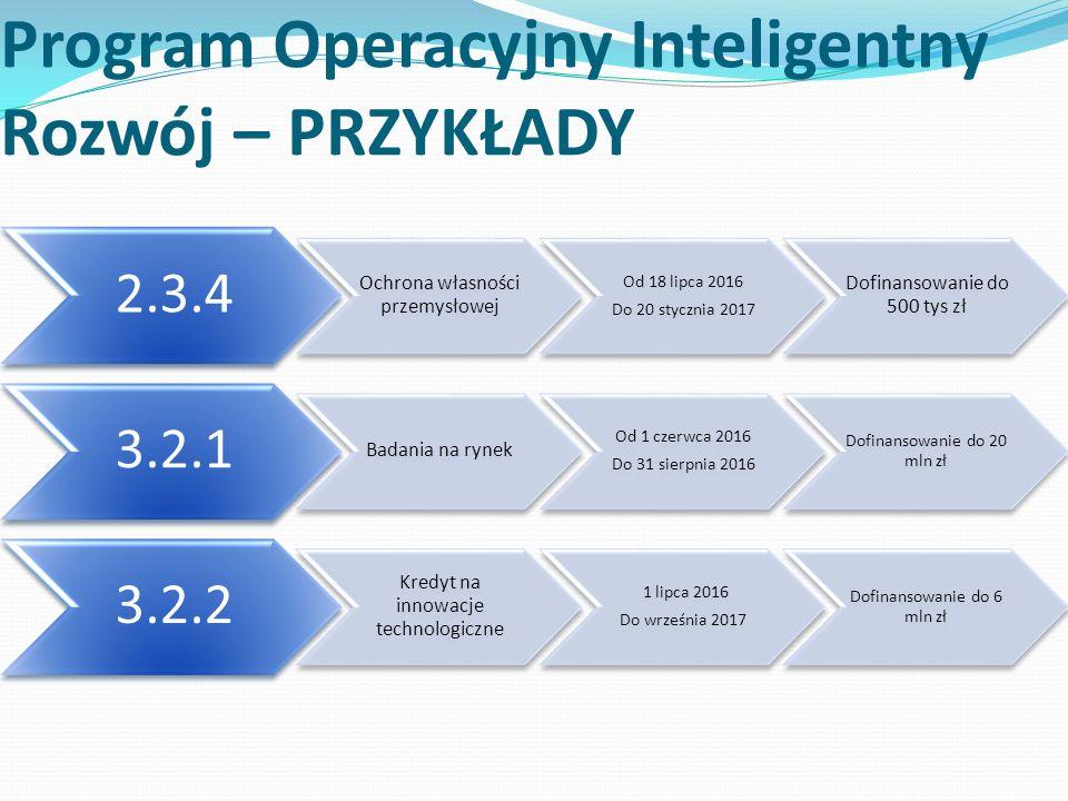 Program Operacyjny Inteligentny Rozwój – PRZYKŁADY 2.3.4 Ochrona własności przemysłowej Od 18 lipca 2016 Do 20 stycznia 2017 Dofinansowanie do 500 tys