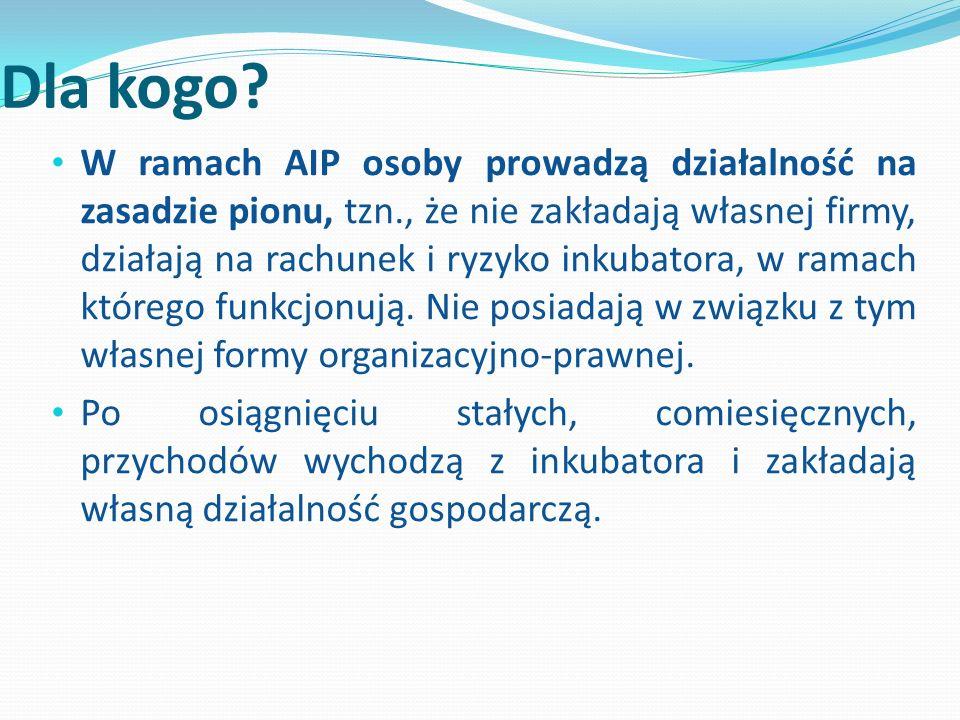 Dla kogo? W ramach AIP osoby prowadzą działalność na zasadzie pionu, tzn., że nie zakładają własnej firmy, działają na rachunek i ryzyko inkubatora, w