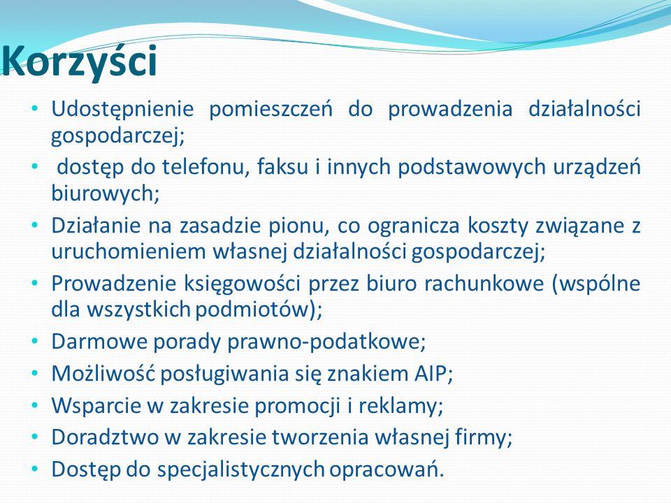 Korzyści Udostępnienie pomieszczeń do prowadzenia działalności gospodarczej; dostęp do telefonu, faksu i innych podstawowych urządzeń biurowych; Działanie na zasadzie pionu, co ogranicza koszty związane z uruchomieniem własnej działalności gospodarczej; Prowadzenie księgowości przez biuro rachunkowe (wspólne dla wszystkich podmiotów); Darmowe porady prawno-podatkowe; Możliwość posługiwania się znakiem AIP; Wsparcie w zakresie promocji i reklamy; Doradztwo w zakresie tworzenia własnej firmy; Dostęp do specjalistycznych opracowań.