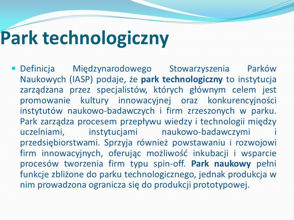 Park technologiczny Definicja Międzynarodowego Stowarzyszenia Parków Naukowych (IASP) podaje, że park technologiczny to instytucja zarządzana przez specjalistów, których głównym celem jest promowanie kultury innowacyjnej oraz konkurencyjności instytutów naukowo-badawczych i firm zrzeszonych w parku.