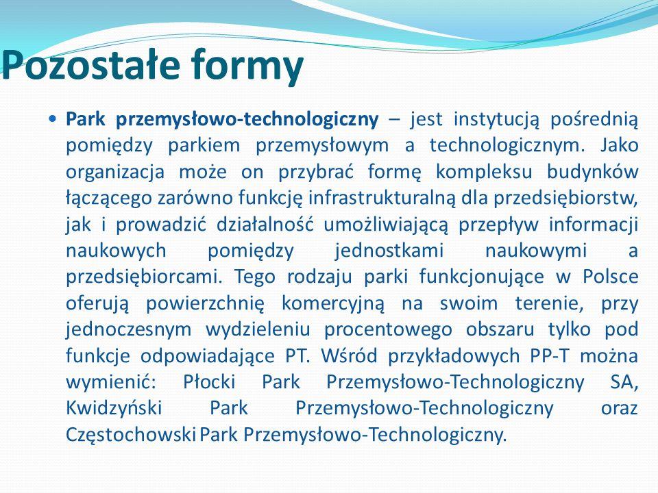 Pozostałe formy Park przemysłowo-technologiczny – jest instytucją pośrednią pomiędzy parkiem przemysłowym a technologicznym. Jako organizacja może on