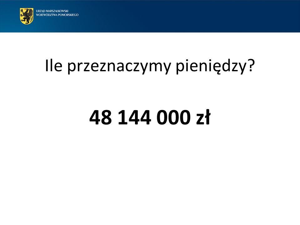 Ile przeznaczymy pieniędzy 48 144 000 zł