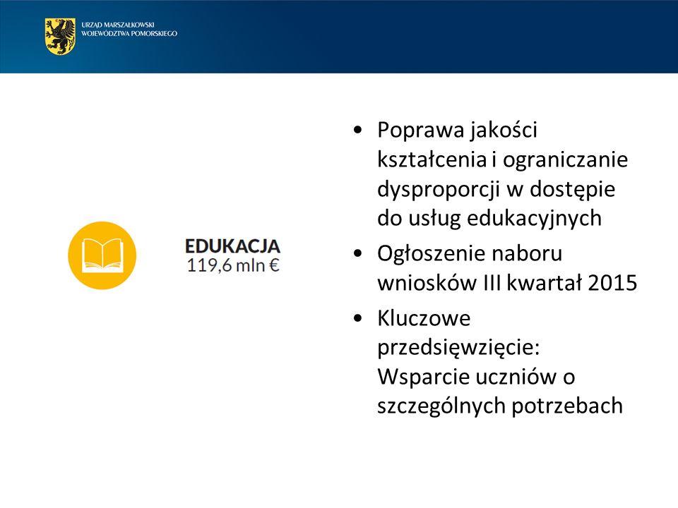 Poprawa jakości kształcenia i ograniczanie dysproporcji w dostępie do usług edukacyjnych Ogłoszenie naboru wniosków III kwartał 2015 Kluczowe przedsięwzięcie: Wsparcie uczniów o szczególnych potrzebach