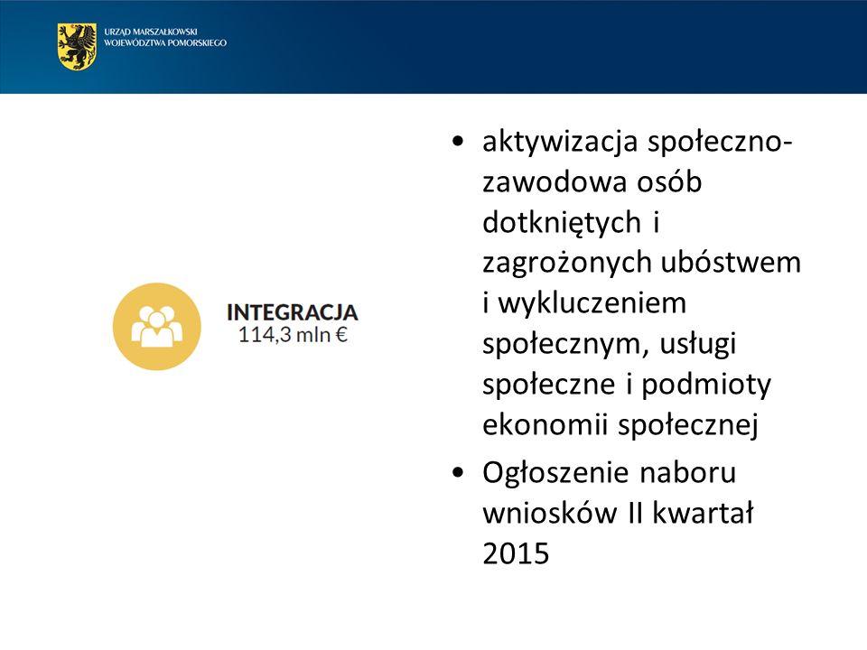 aktywizacja społeczno- zawodowa osób dotkniętych i zagrożonych ubóstwem i wykluczeniem społecznym, usługi społeczne i podmioty ekonomii społecznej Ogłoszenie naboru wniosków II kwartał 2015