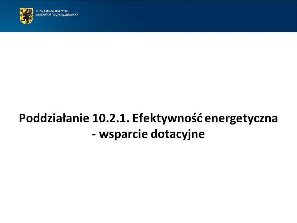 Poddziałanie 10.2.1. Efektywność energetyczna - wsparcie dotacyjne