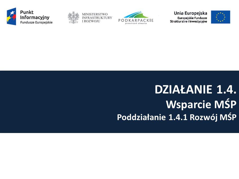 DZIAŁANIE 1.4. Wsparcie MŚP Poddziałanie 1.4.1 Rozwój MŚP