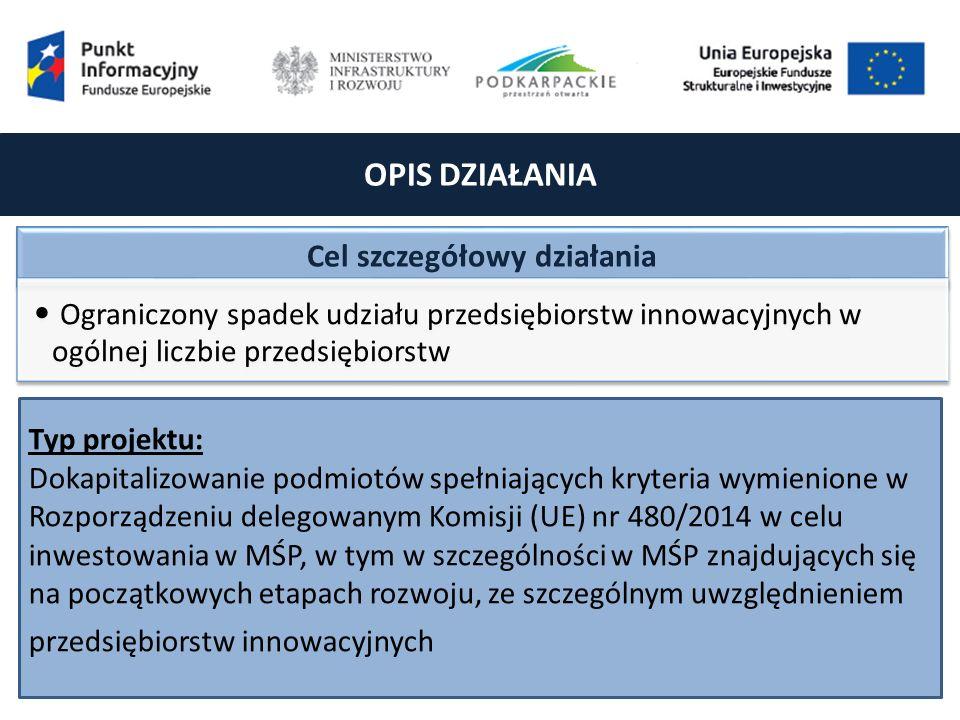 OPIS DZIAŁANIA Cel szczegółowy działania Ograniczony spadek udziału przedsiębiorstw innowacyjnych w ogólnej liczbie przedsiębiorstw Typ projektu: Dokapitalizowanie podmiotów spełniających kryteria wymienione w Rozporządzeniu delegowanym Komisji (UE) nr 480/2014 w celu inwestowania w MŚP, w tym w szczególności w MŚP znajdujących się na początkowych etapach rozwoju, ze szczególnym uwzględnieniem przedsiębiorstw innowacyjnych