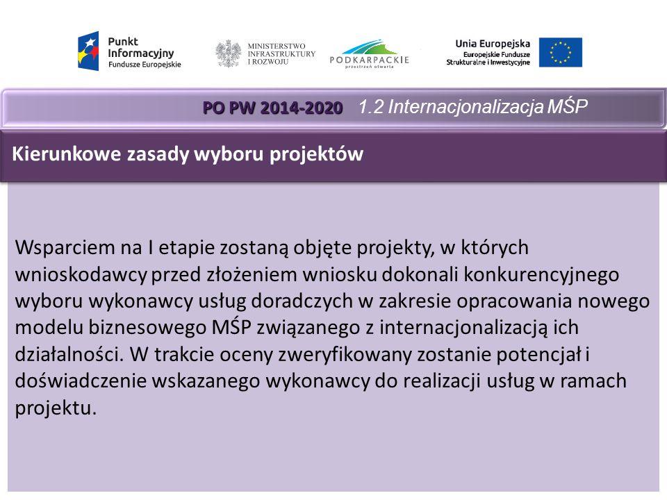 PO PW 2014-2020 PO PW 2014-2020 1.2 Internacjonalizacja MŚP Wsparciem na I etapie zostaną objęte projekty, w których wnioskodawcy przed złożeniem wniosku dokonali konkurencyjnego wyboru wykonawcy usług doradczych w zakresie opracowania nowego modelu biznesowego MŚP związanego z internacjonalizacją ich działalności.