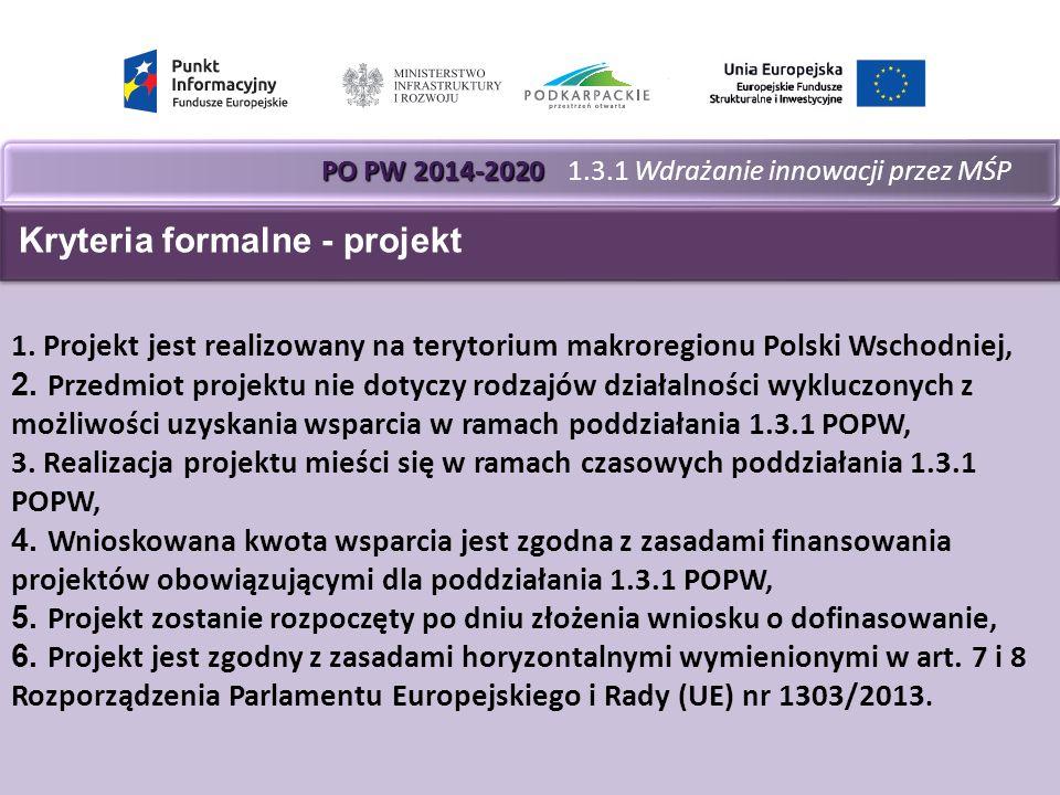 PO PW 2014-2020 PO PW 2014-2020 1.3.1 Wdrażanie innowacji przez MŚP 1.