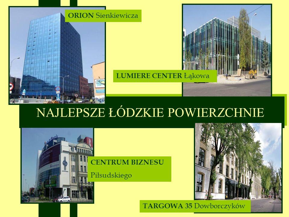 NAJLEPSZE ŁÓDZKIE POWIERZCHNIE ORION Sienkiewicza CENTRUM BIZNESU Piłsudskiego LUMIERE CENTER Łąkowa TARGOWA 35 Dowborczyków