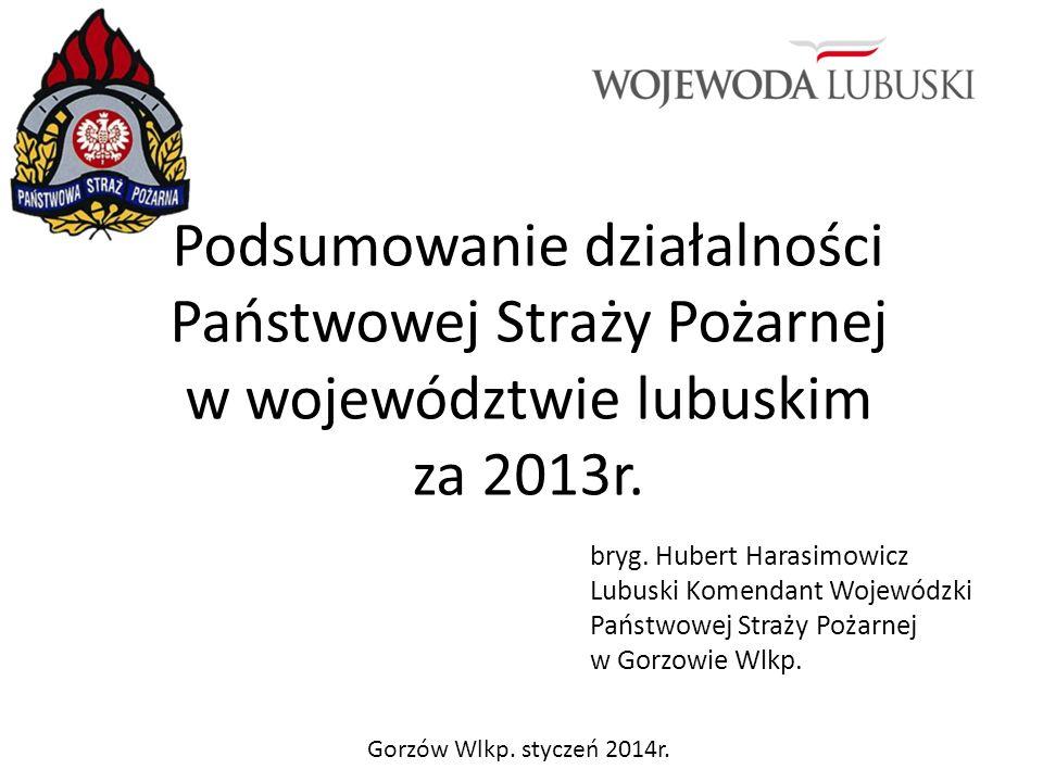 Podsumowanie działalności Państwowej Straży Pożarnej w województwie lubuskim za 2013r.