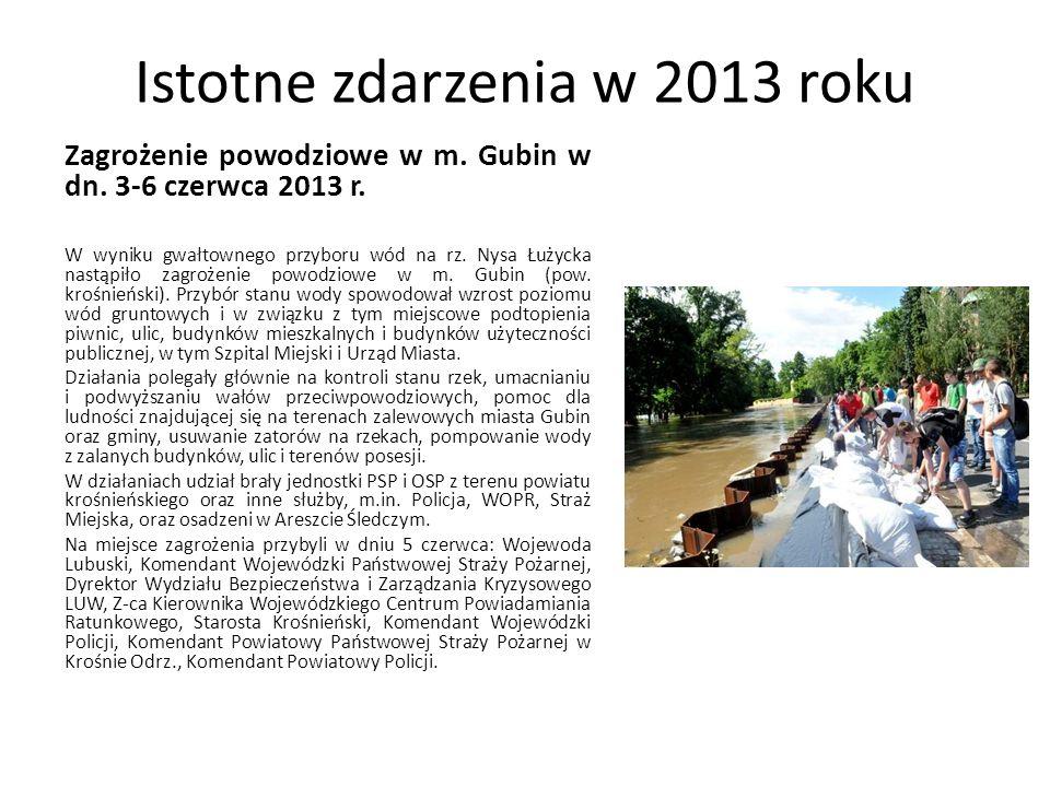 Istotne zdarzenia w 2013 roku Zagrożenie powodziowe w m. Gubin w dn. 3-6 czerwca 2013 r. W wyniku gwałtownego przyboru wód na rz. Nysa Łużycka nastąpi