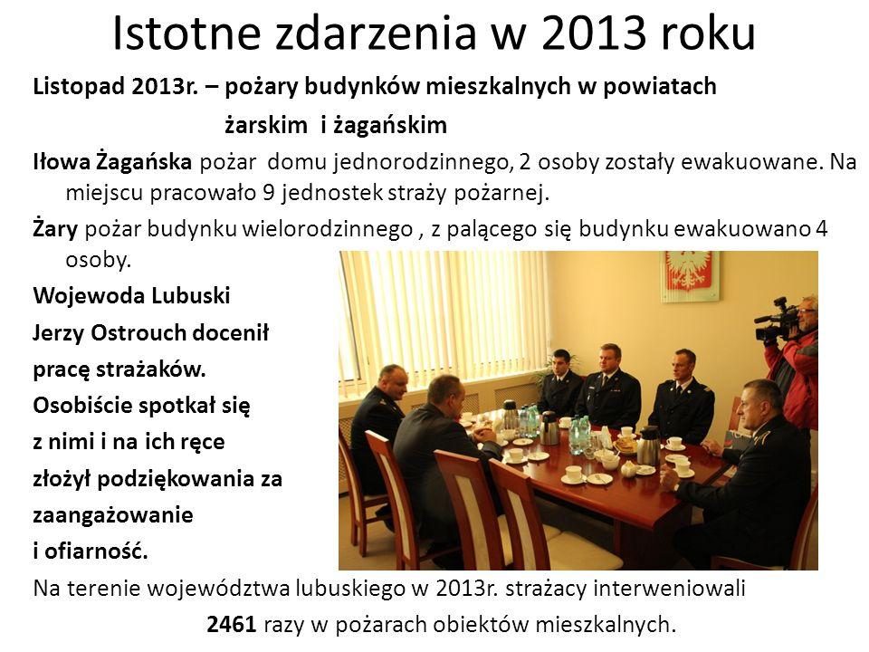 Istotne zdarzenia w 2013 roku Listopad 2013r. – pożary budynków mieszkalnych w powiatach żarskim i żagańskim Iłowa Żagańska pożar domu jednorodzinnego