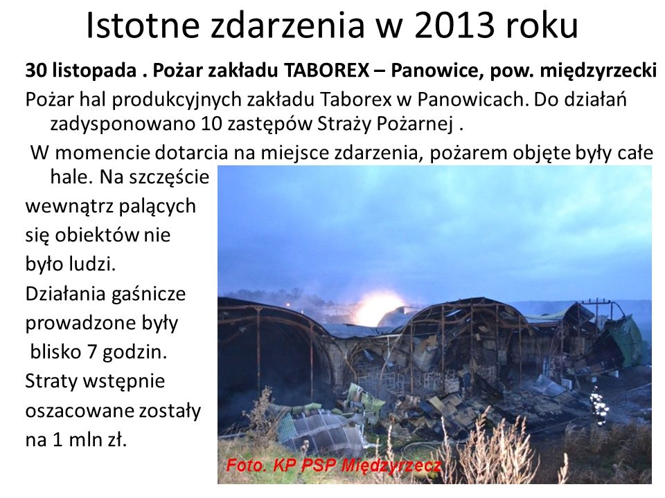Istotne zdarzenia w 2013 roku 30 listopada. Pożar zakładu TABOREX – Panowice, pow. międzyrzecki Pożar hal produkcyjnych zakładu Taborex w Panowicach.