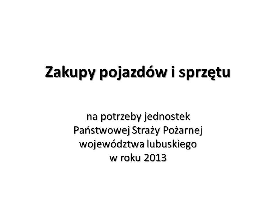 Zakupy pojazdów i sprzętu na potrzeby jednostek Państwowej Straży Pożarnej województwa lubuskiego w roku 2013