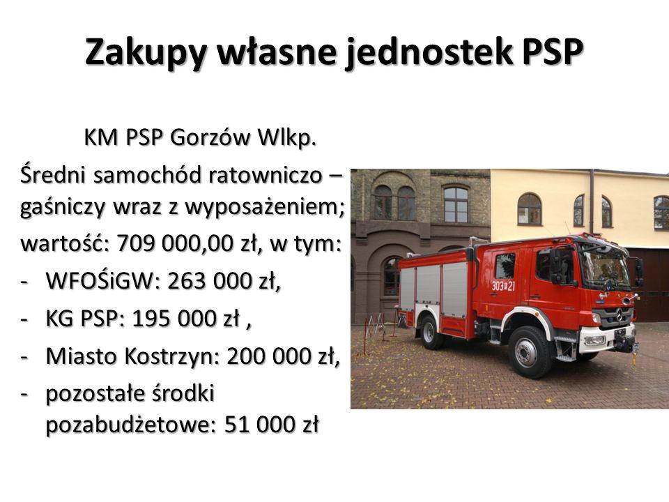 Zakupy własne jednostek PSP KM PSP Gorzów Wlkp. Średni samochód ratowniczo – gaśniczy wraz z wyposażeniem; wartość: 709 000,00 zł, w tym: -WFOŚiGW: 26