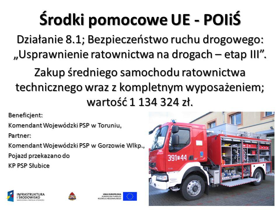 """Środki pomocowe UE - POIiŚ Działanie 8.1; Bezpieczeństwo ruchu drogowego: """"Usprawnienie ratownictwa na drogach – etap III"""". Zakup średniego samochodu"""