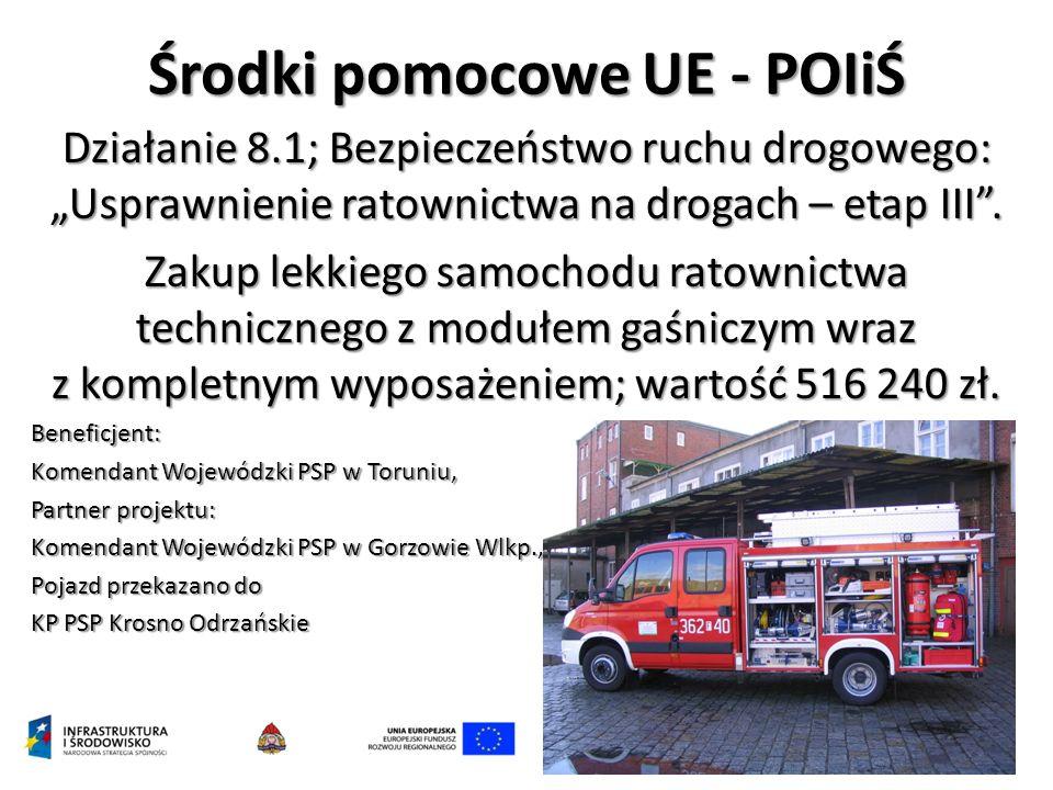 """Środki pomocowe UE - POIiŚ Działanie 8.1; Bezpieczeństwo ruchu drogowego: """"Usprawnienie ratownictwa na drogach – etap III ."""