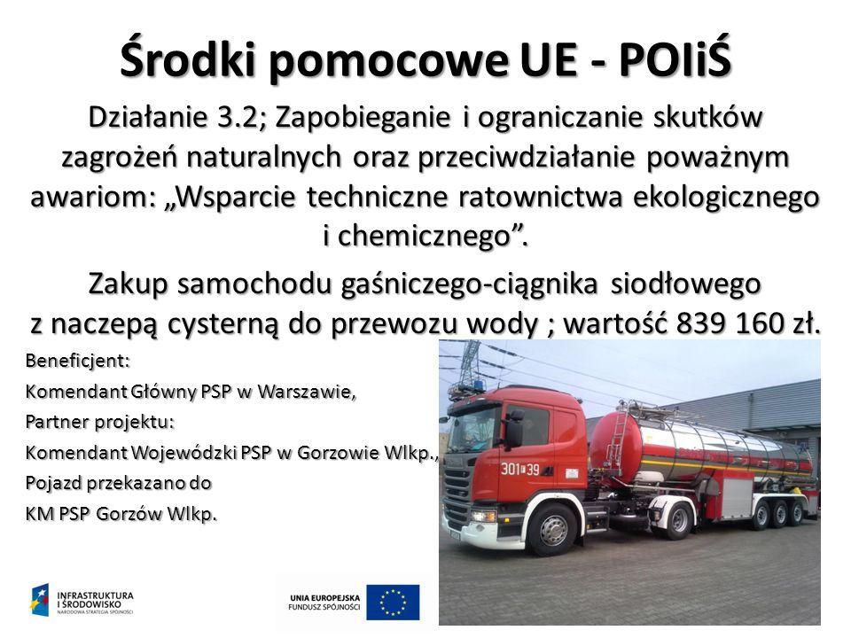 """Środki pomocowe UE - POIiŚ Działanie 3.2; Zapobieganie i ograniczanie skutków zagrożeń naturalnych oraz przeciwdziałanie poważnym awariom: """"Wsparcie techniczne ratownictwa ekologicznego i chemicznego ."""
