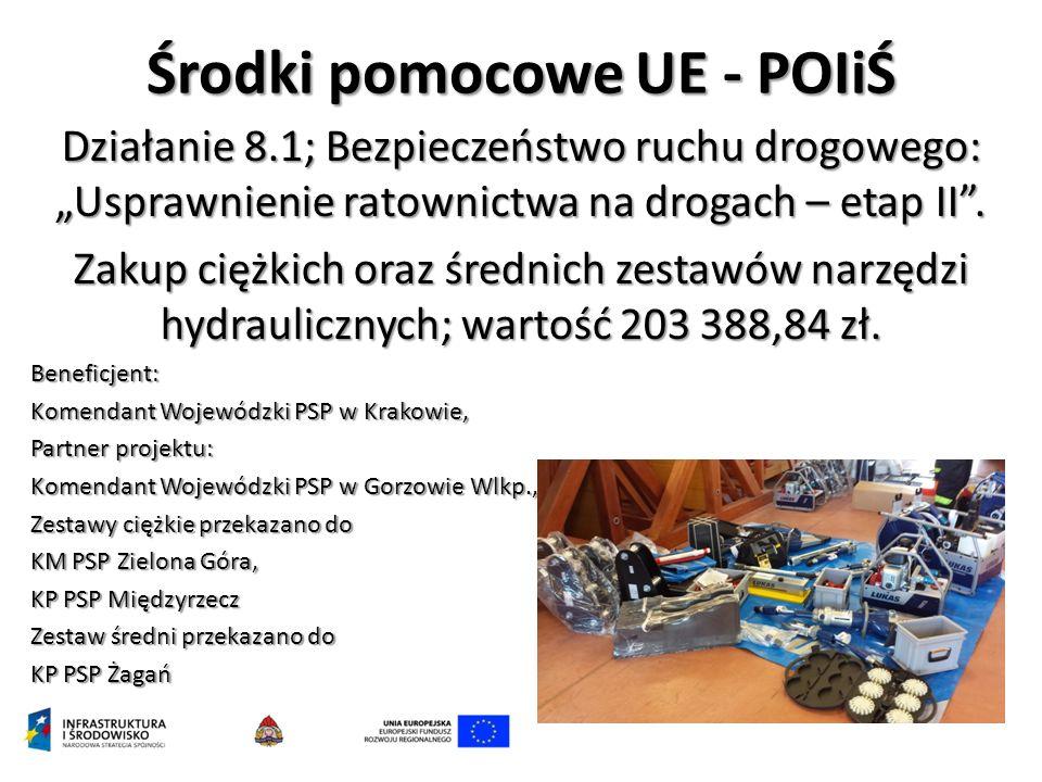 """Środki pomocowe UE - POIiŚ Działanie 8.1; Bezpieczeństwo ruchu drogowego: """"Usprawnienie ratownictwa na drogach – etap II"""". Zakup ciężkich oraz średnic"""