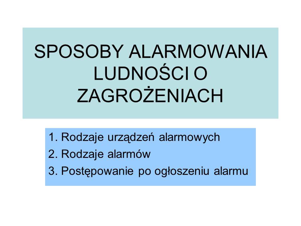 SPOSOBY ALARMOWANIA LUDNOŚCI O ZAGROŻENIACH 1. Rodzaje urządzeń alarmowych 2. Rodzaje alarmów 3. Postępowanie po ogłoszeniu alarmu