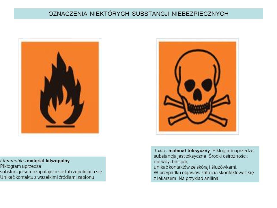 OZNACZENIA NIEKTÓRYCH SUBSTANCJI NIEBEZPIECZNYCH Flammable - materiał łatwopalny. Piktogram uprzedza: substancja samozapalająca się lub zapalająca się