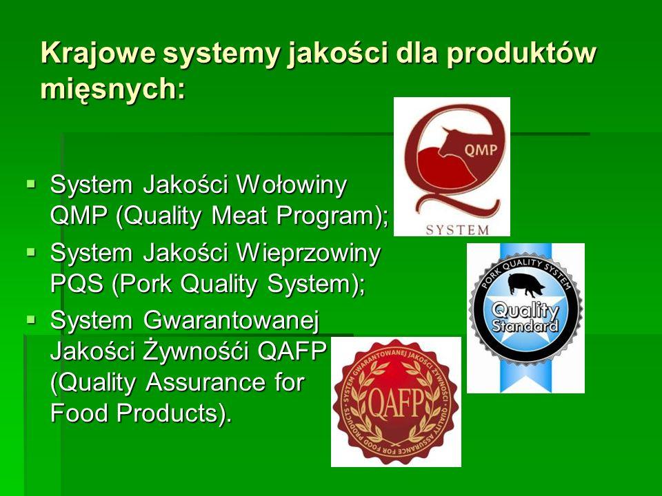 Krajowe systemy jakości dla produktów mięsnych:  System Jakości Wołowiny QMP (Quality Meat Program);  System Jakości Wieprzowiny PQS (Pork Quality S