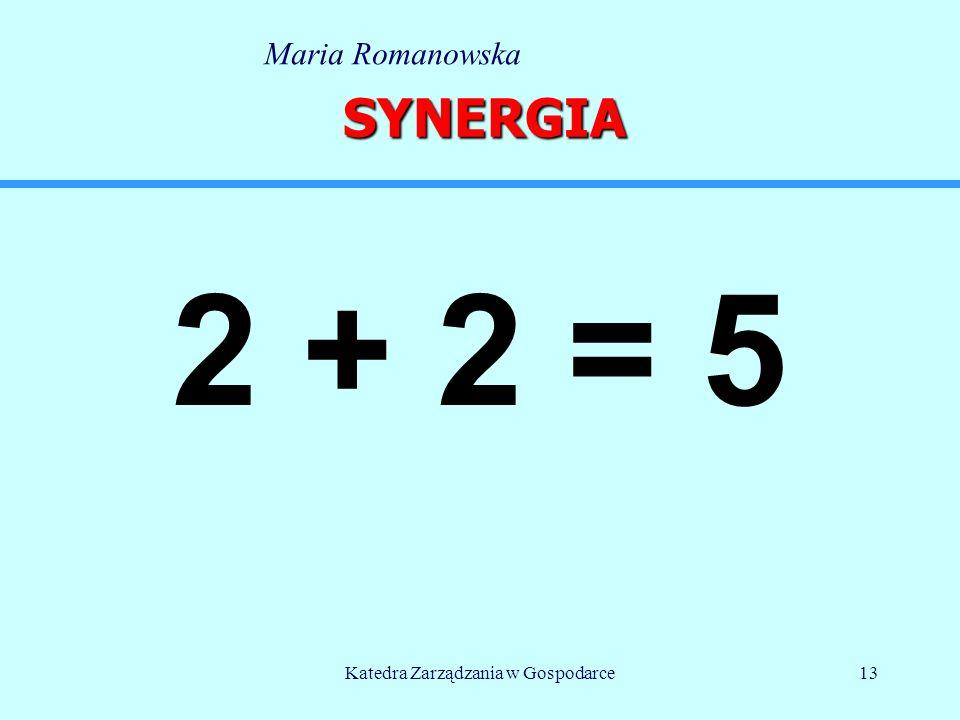 Katedra Zarządzania w Gospodarce13 SYNERGIA 2 + 2 = 5 Maria Romanowska