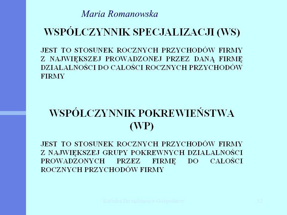 Katedra Zarządzania w Gospodarce32 Maria Romanowska