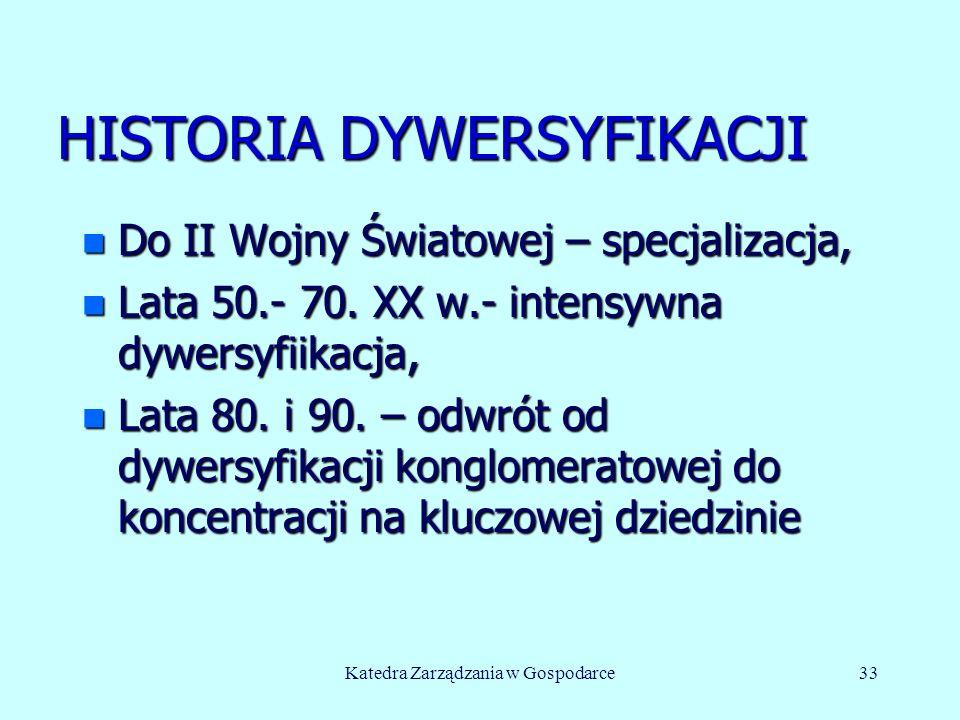 HISTORIA DYWERSYFIKACJI n Do II Wojny Światowej – specjalizacja, n Lata 50.- 70. XX w.- intensywna dywersyfiikacja, n Lata 80. i 90. – odwrót od dywer