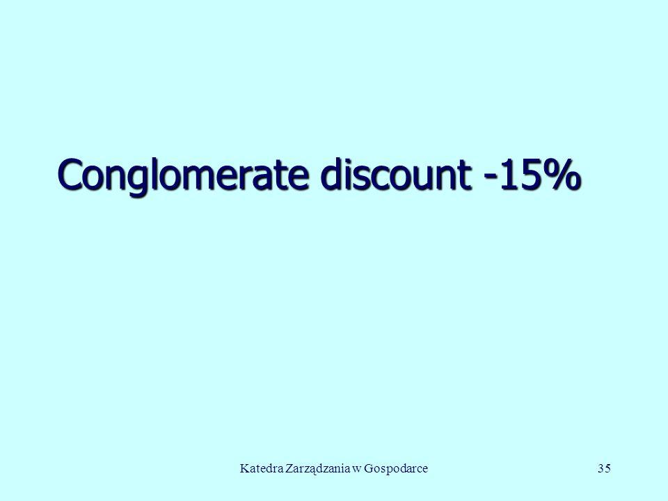 Conglomerate discount -15% Katedra Zarządzania w Gospodarce35