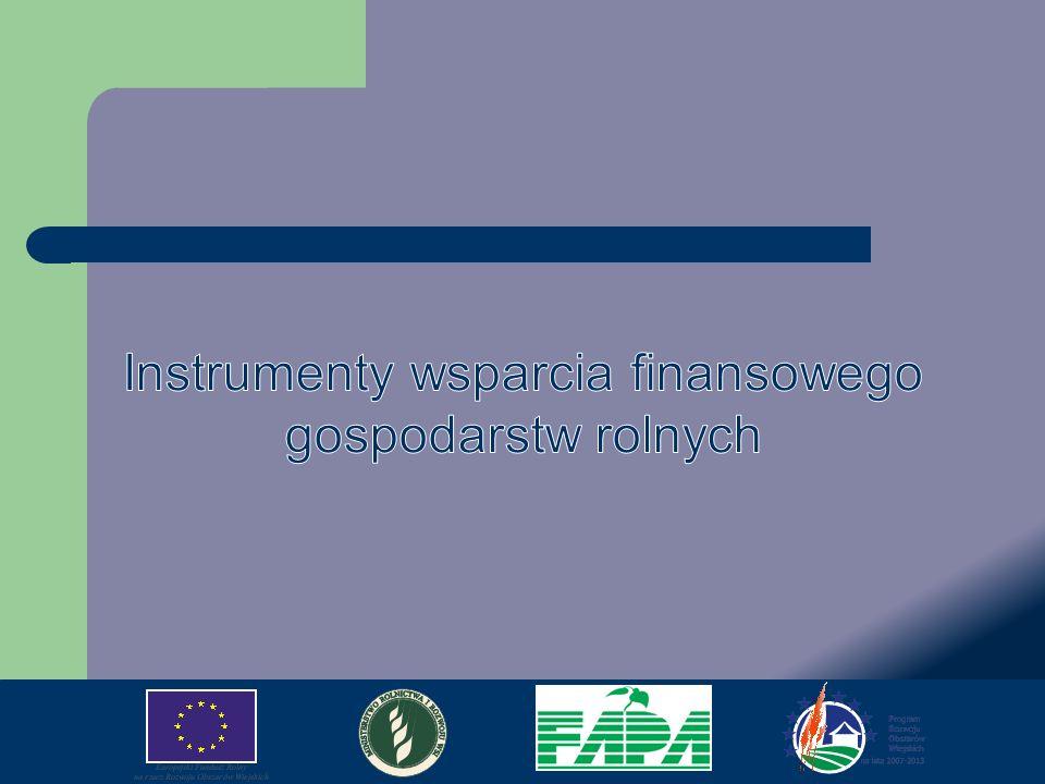 Fundusze wspólnotowe Europejski Fundusz Rolniczy Gwarancji (EFRG) obejmuje instrumenty I filaru Wspólnej Polityki Rolnej, do którego zalicza się: płatności bezpośrednie, wspólną organizację rynku owoców i warzyw.