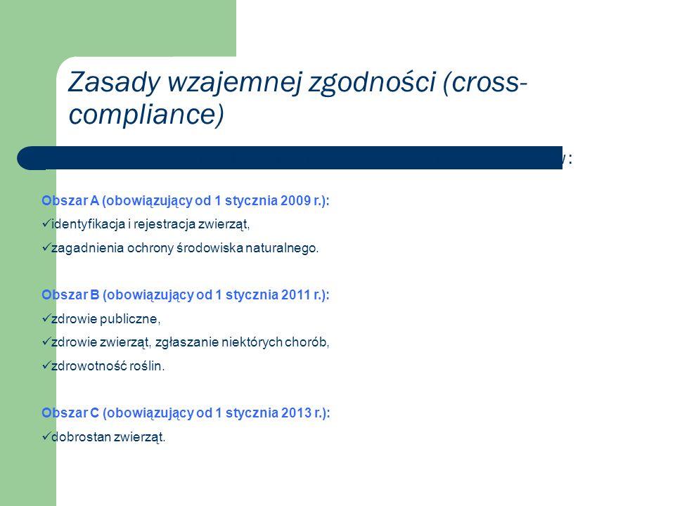 Zasady wzajemnej zgodności (cross- compliance) Dotyczą one trzech wdrażanych w Polsce stopniowo obszarów: Obszar A (obowiązujący od 1 stycznia 2009 r.): identyfikacja i rejestracja zwierząt, zagadnienia ochrony środowiska naturalnego.