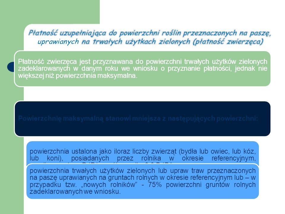 Płatność zwierzęca jest przyznawana do powierzchni trwałych użytków zielonych zadeklarowanych w danym roku we wniosku o przyznanie płatności, jednak nie większej niż powierzchnia maksymalna.