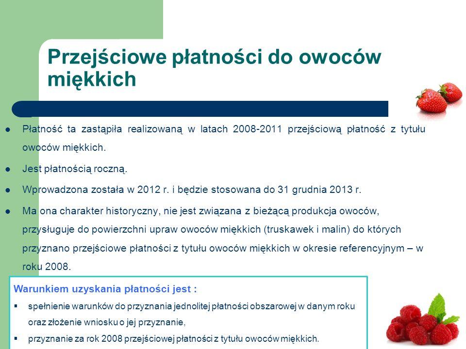 Płatność ta zastąpiła realizowaną w latach 2008-2011 przejściową płatność z tytułu owoców miękkich.