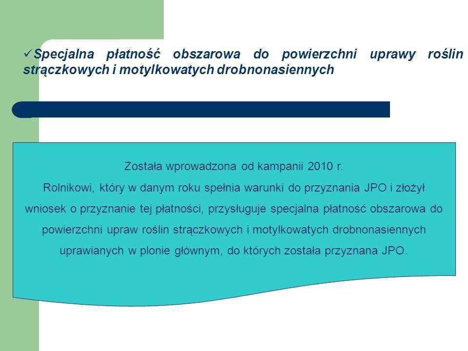 Specjalna płatność obszarowa do powierzchni uprawy roślin strączkowych i motylkowatych drobnonasiennych Została wprowadzona od kampanii 2010 r.