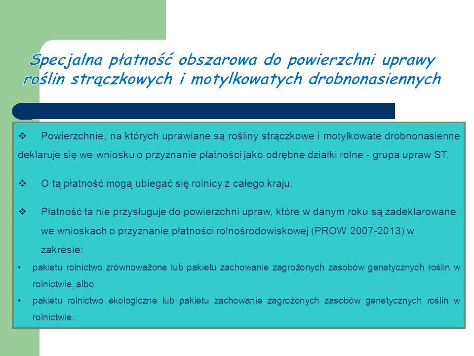  Powierzchnie, na których uprawiane są rośliny strączkowe i motylkowate drobnonasienne deklaruje się we wniosku o przyznanie płatności jako odrębne działki rolne - grupa upraw ST.
