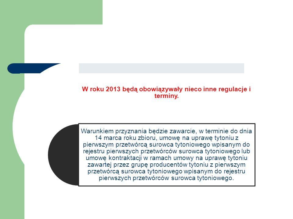 W roku 2013 będą obowiązywały nieco inne regulacje i terminy.
